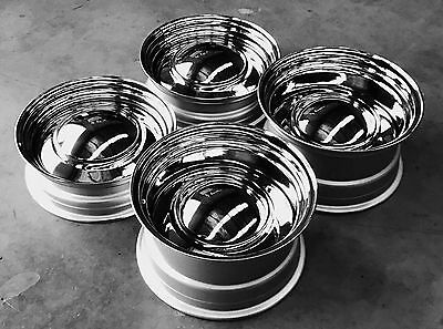 "15"" x 5"" 7"" 8"" SMOOTH CHROME CAP SMOOTHIES 4 HOTROD FORD XR XY XW HOLDEN HQ Chev"