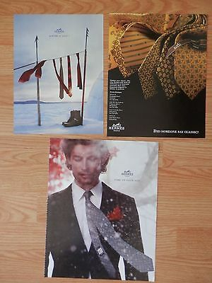Lot of 3 Different Print Ads, Hermes Ties