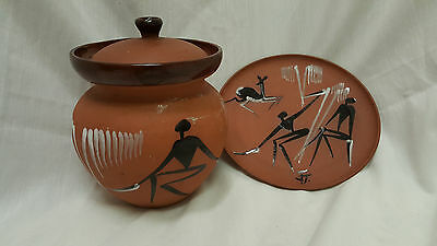 African Art Clay Pottery-- Simba Potteries--Cookie Jar/Plate