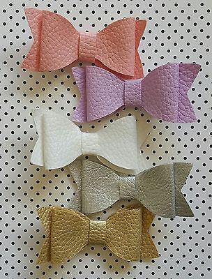 Faux Leather Bow Girls Baby Toddler Hair Clips Clip Newborn