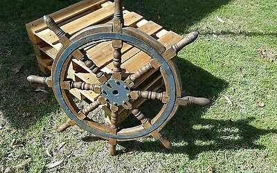 Antique 3' wood boat Steering wheel (Believed to be off a Murry River Steamer)