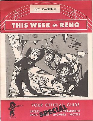 Vintage This Week in Reno Nevada Official Guide Booklet NV Nevada