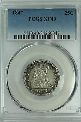 1847 Seated Quarter! Pcgs Xf40! 25C! Us Coin Lot #4812