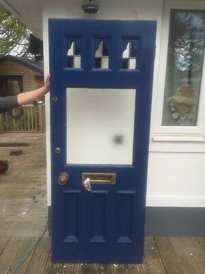 Edwardian Front Door Wood Reclaimed External Stained Glass Old Period Antique.