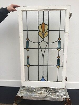 Victorian Stained Glass Window Panel Antique Period Leaded Old Nouveau Pine