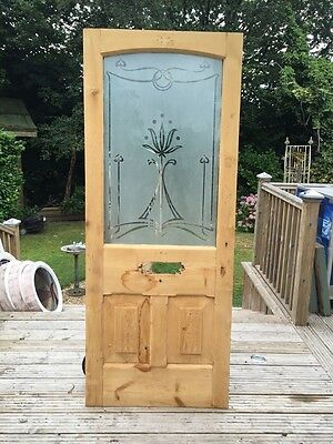 Etched Glass Door Edwardian Art Nouveau Old Reclaimed Antique Leaded Period Wood