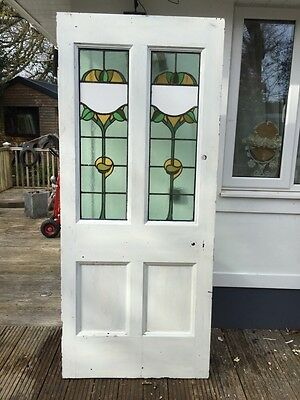 Large Victorian Front Door Wood Reclaimed Old Period Antique Stained Glass Lead