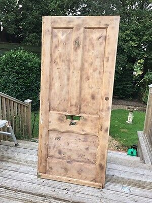 Large Victorian Front Door Wooden Reclaimed Period Old Antique Pine C1875 Strip