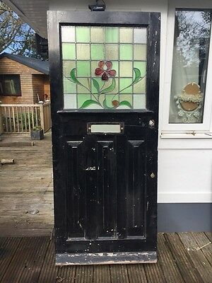 Large Stained Glass Victorian Front Door Period Old Reclaimed Antique Leaded
