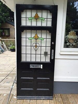 Large Edwardian Stained Glass Front Door Old Reclaimed Antique Period Pine Wood