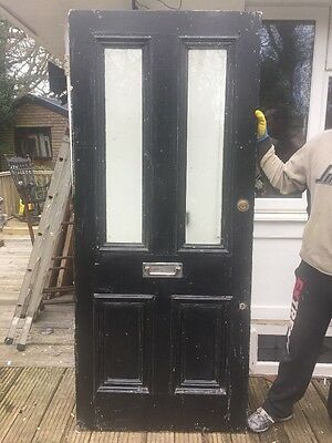 V Large Victorian Glazed Front Door Wood Reclaimed Period Old Antique Timber