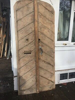 Early Victorian Front Doors Period Old Reclaimed Antique French Pine Set Pair