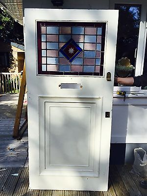 LARGE STAINED GLASS FRONT DOOR ANTIQUE OLD PERIOD 1920s 1930s RECLAIMED LEADED