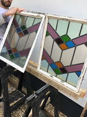 Art Deco Stained Glass Window Panels Architectural Antique Period Lead Old Metal