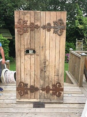 Large Early Victorian Double Front Door Set Antique Period Reclaimed Old Wooden
