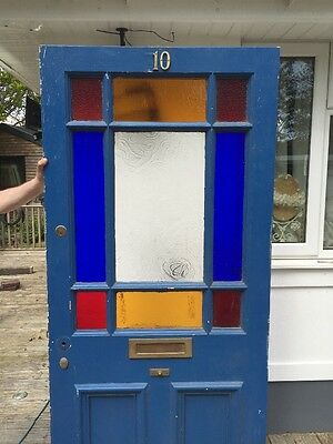 Large Victorian Front Door Wood Reclaimed Old Period Antique Stained Glass