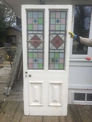 Victorian Stained Glass Front Door Wood Solid Pine Reclaimed Leaded Old Antique