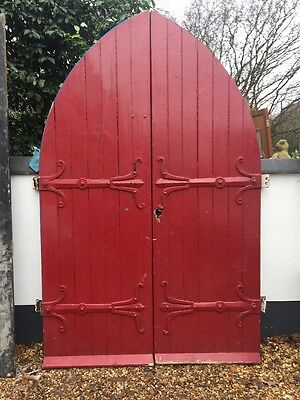 Large Tudor Front Door Set Antique Period Reclaimed Old Arched Cast Iron    Wood