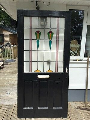 V Large Victorian Stained Glass Front Door Period Old Reclaimed Antique Nouveau