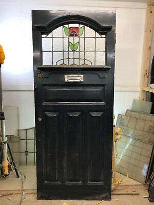 Large Edwardian Stained Glass Front Door Old Period Wooden Antique Leaded Old