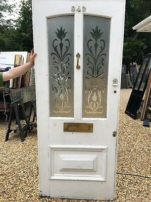 Large Victorian Hand Cut Glass Front Door Wood Reclaimed Period Old Antique Wood