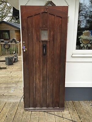 SOLID OAK FRONT DOOR GLAZED ANTIQUE OLD PERIOD WOOD 1900s VICTORIAN EDWARDIAN.
