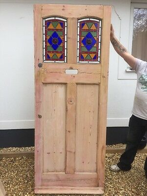 Victorian Stained Glass Front Door Period Old Reclaimed Antique Leaded Pine
