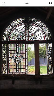 V Large Stained Glass Window Panel Architectural Antique Period Lead Old C1830