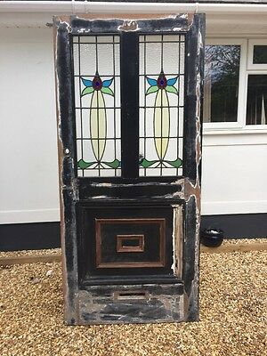 V Large Victorian Front Door Classic Old Period Stained Glass Leaded Reclaimed