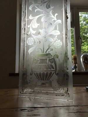 Victorian Acid Etched Glass Front Door Side Panel Old Period Window Reclaimed