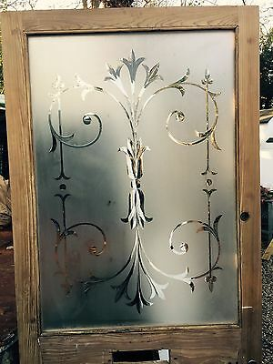 Large Etched Cut Glass Victorian Front Door Reclaimed Old Period Antique Wooden