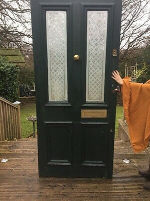 V Large Victorian Etchd Glass Front Door Wood Reclaimed Period Old Antique Manor