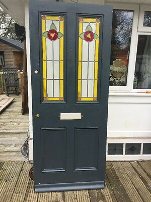 Large Victorian Stained Glass Front Door Wood Reclaimed Period Old Antique Lead