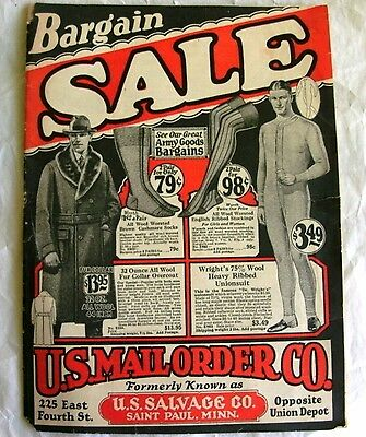 U.S. Mail Order clothing catalog 1920's men women children military army surplus