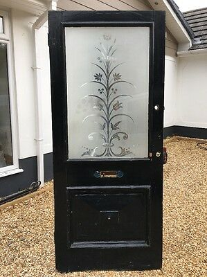 Large Victorian Front Door Etched Glass Period Wood Reclaimed Antique Old Wood.