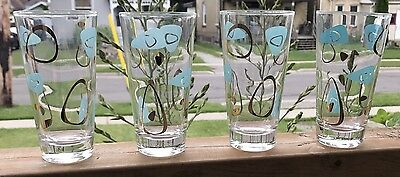 Federal Amoeba Aqua Gold Drinking Glasses Set 4 Boomerang Atomic Tumbler Retro