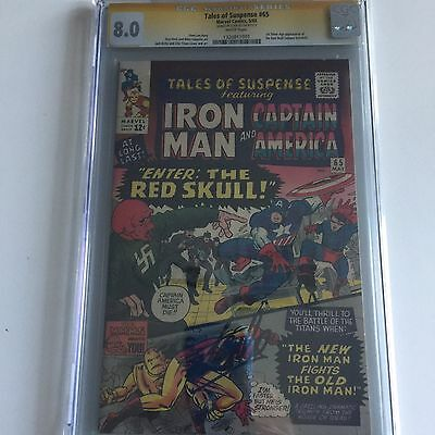 Tales of Suspense:#65 CGC 8.0 Enter:The Red Skull, Stan Lee Signed, Collectible!