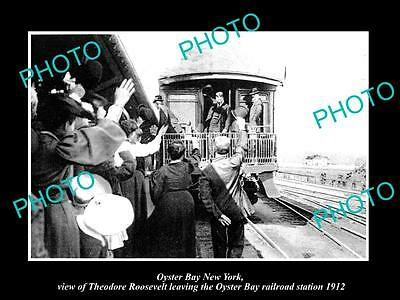 OLD HISTORIC PHOTO OF OYSTER BAY NEW YORK, PRESIDENT ROOSEVELT AT STATION c1912