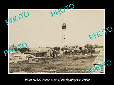 OLD LARGE HISTORIC PHOTO OF POINT ISABEL TEXAS, VIEW OF THE LIGHTHOUSE c1920