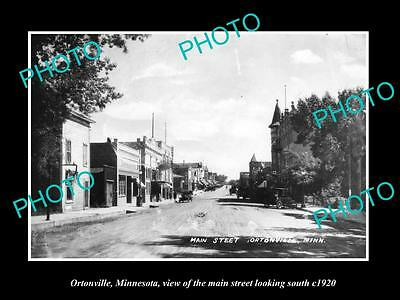 OLD LARGE HISTORIC PHOTO OF ORTONVILLE MINNESOTA, THE MAIN STREET & STORES c1920