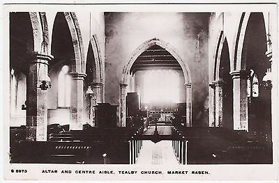 TEALBY CHURCH INTERIOR Market Rasen - 1911 used Lincolnshire Real Photo postcard