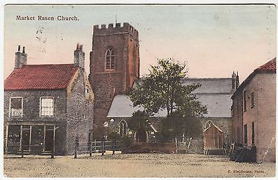 MARKET RASEN CHURCH - by C Fieldhouse - 1905 used Lincolnshire postcard