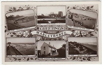 GREETINGS FROM MABLETHORPE - 1921 used Real Photo Lincolnshire postcard