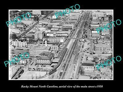 OLD LARGE HISTORIC PHOTO OF ROCKY MOUNT NORTH CAROLINA, AERIAL OF MAIN St c1950