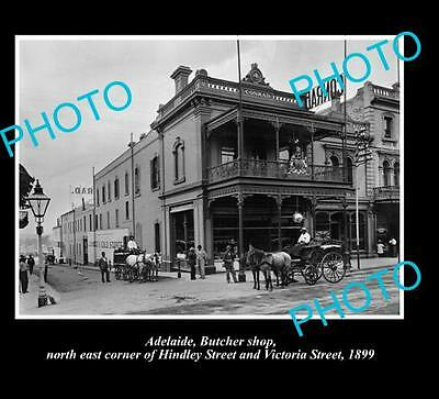 OLD LARGE HISTORICAL PHOTO OF ADELAIDE SA, BUTCHER SHOP, HINDLEY STREET c1899
