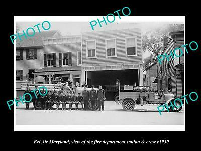 OLD LARGE HISTORIC PHOTO OF BEL AIR MARYLAND, THE FIRE DEPARTMENT STATION c1930