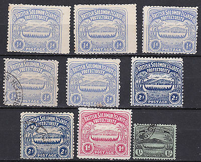 Solomon Islands 1908 collection of 9 mint hinged and used