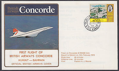 1979 Concorde Kuwait to Bahrain (B/S) First BA Flight FFC; SHS; Airmail; scans