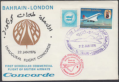 1976 Concorde Bahrain - London Inaugural Flight FFC; SHS; Airmail; see scans