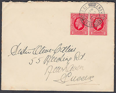 1934 24 SP KGV 1d scarlet Pair FDC; Seal / Sevenoaks Kent CDS to Newhaven,Sussex